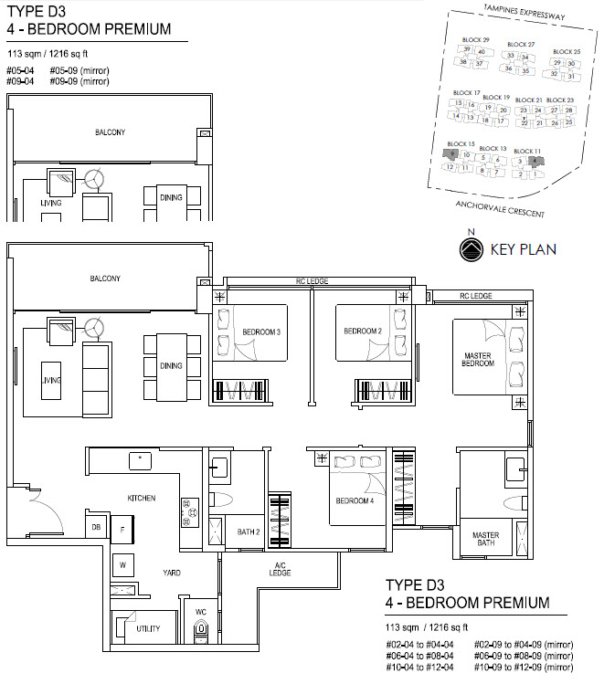 Bellewaters EC Floor Plan D3