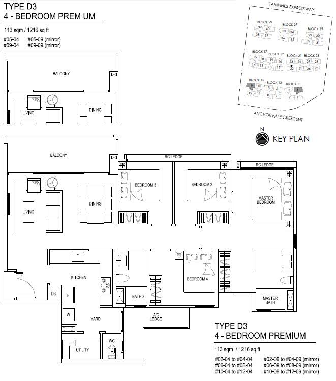 Bellewaters EC Floor Plan D3